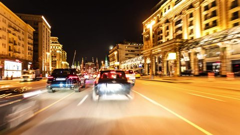 Timelaps of the night city. The traffic on the roads of Moscow at night is a first-person view.