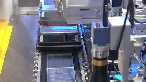 Hannover, Germany - April, 2018: Automatic Bozhon electronics assembly line on Messe fair in Hannover, Germany