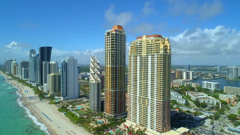 Aerial Sunny Isles Beach Miami Dade Florida USA 4k