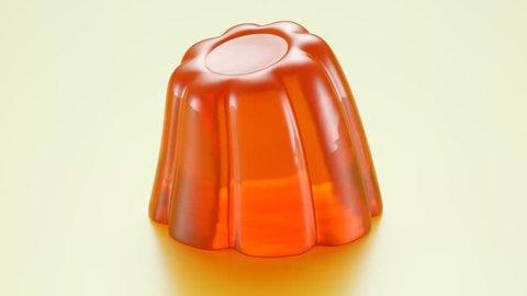 03375 Wobbly single orange jelly isolated on white background.