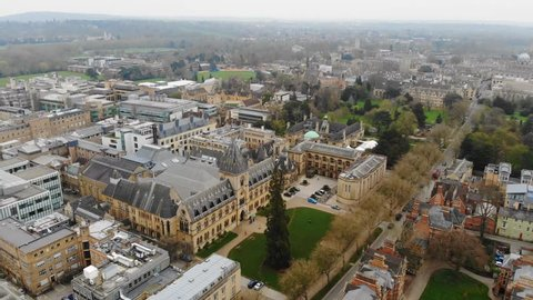 Aerial view of cityscape of Oxford, university city in England - Oxfordshire, United Kingdom from above, 4k UHD