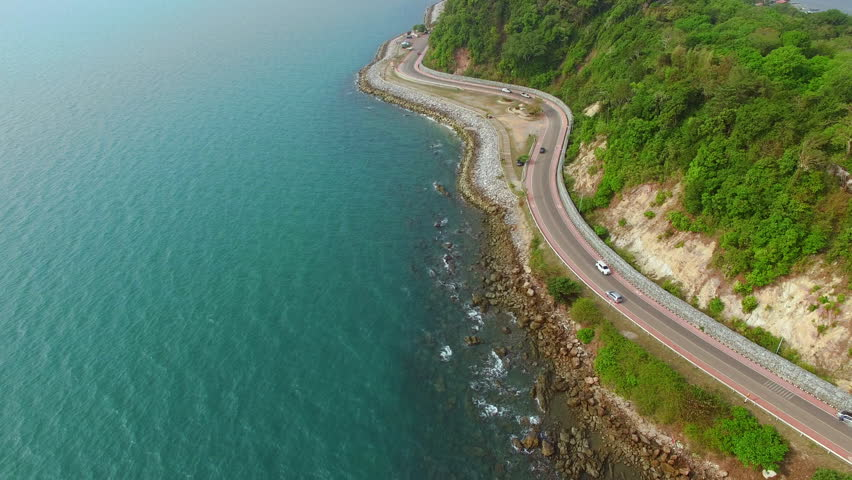 Noen Nangphaya View Point, view of the winding road area places near sea in Chanthaburi for sunset, Aerial view | Shutterstock HD Video #1010855054