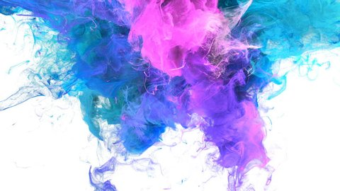 Color Burst - colorful blue pink cyan purple smoke explosion from above fluid gas ink particles slow motion alpha matte isolated on white