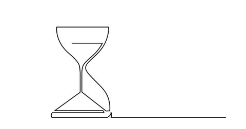 Self drawing animation of one line drawing of isolated vector object - hourglass