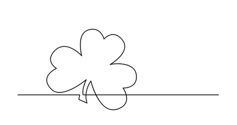 Self drawing animation of one line drawing of isolated vector object - four leaf clover