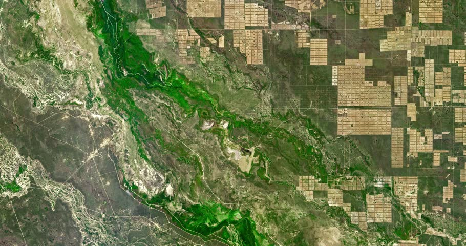 Very high-altitude overflight aerial of massive deforestation, Paraguay's Gran Chaco plain. Clip loops and is reversible. Elements of this image furnished by NASA