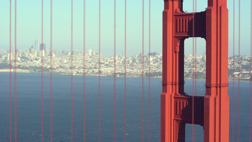 San Francisco cityscape through Golden Gate bridge cables - August 2017: San Francisco, California, US   Shutterstock HD Video #1010903834