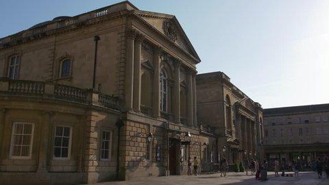 BATH - May 5: Historic Roman Baths in City of Bath on May 5th 2018 in Bath England.