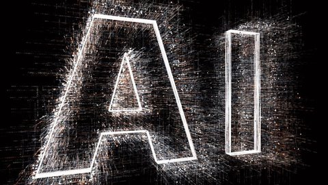 4k AI animated word tag cloud,text design animation.The Matrix style binary computer code shaped text design animation,changing from zero to one digits,abstract future tech background.cg_05128_4k