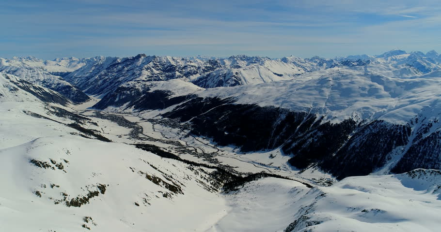An amazing view of Livigno landscape in winter, from the top, over the mountain in winter