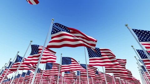 Many American USA Flags fluttering in the wind on flag poles against blue sky. Three dimensional rendering animation.