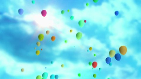 Lots Of Balloons Floating Up Into The Sky. Festive / Party Video Animation Background 4K Footage