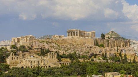Temple of Parthenon 4K timelapse, Athenian Acropolis, Athens, Greece