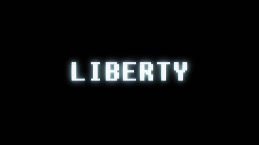 Retro videogame LIBERTY word text computer tv glitch interference noise screen animation seamless loop New quality universal vintage motion dynamic animated background colorful joyful video  | Shutterstock HD Video #1011011354