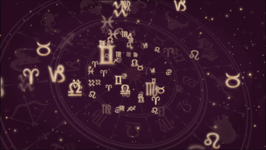 Abstract background with Zodiac signs and horoscope wheel | Shutterstock HD Video #1011015284