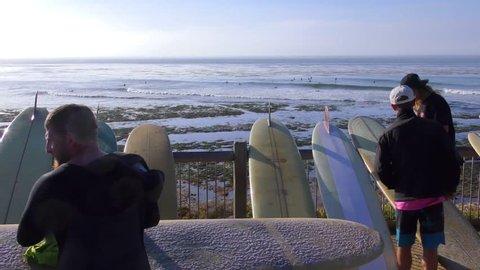 SANTA CRUZ, CA, USA - 30 APRIL 2017: Unidentified people at the SurfAid Cup 2017 at Pleasure Point in Santa Cruz, California, USA. SURFAID is a non-profit humanitarian organization.