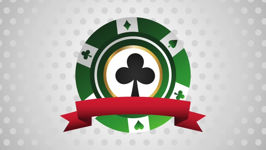 Casino chip with ribbon banner HD animation