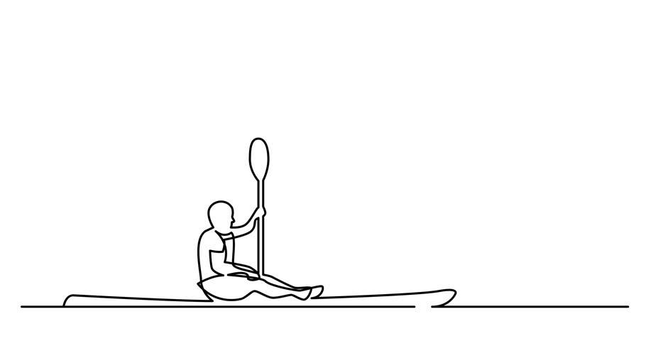 Self drawing animation of man kayaking on lake