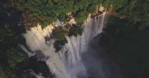 Aerial footage of beautiful Calandula waterfalls, Malanje, Angola.