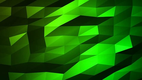Loopable Abstract Green Low Poly 3D surface as CG background. Soft Polygonal Geometric Low Poly motion background of shifting Green polygons. 4K Fullhd seamless loop background render V71