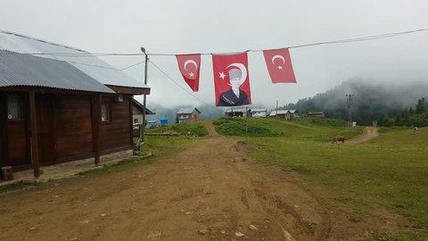 Rize, Turkey - July 2017: Scenery from a Plateau in Blacksea Karadeniz region with Ataturk flags in Rize, Turkey