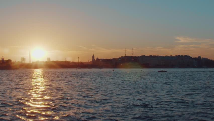 Saint-Petersburg. Sunset on the Neva river | Shutterstock HD Video #1011131024