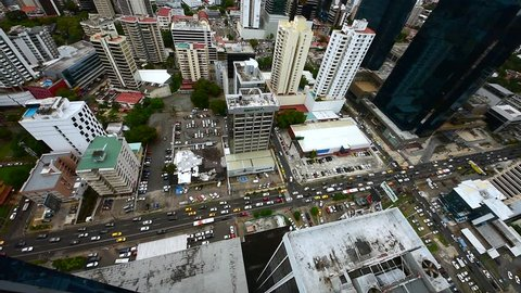 Flying vertical shot looking down over downtown at Panama city, Central America
