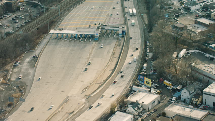 Aerial Shot of city Highway, New York City. Shot with a RED camera.
