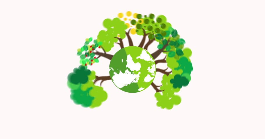 world environment day concept green eco earth Planet Earth spinning. Animated Motion graphic of a happy earth day for world environment safety celebration  on white background.flat cartoon design.