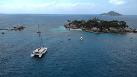 Seychelles tropical island luxury vacation, drone view at tropical island Coco island Seychelles