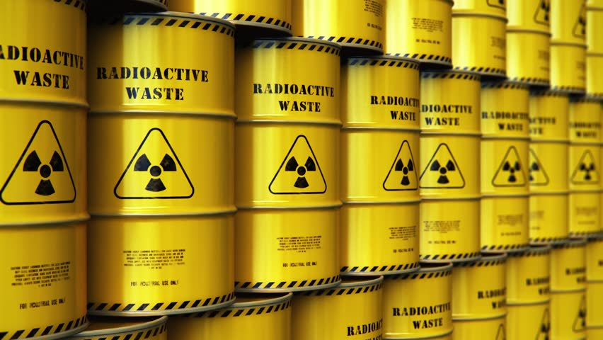 Nuclear power fuel manufacturing, disposal and utilization industry concept: 3D render of group of stacked yellow metal barrels, drums or containers with poison dangerous hazardous radioactive waste