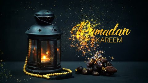Ramadan Kareem Greeting Gold Glitter Particles. Ramadan Candle Lantern with Wooden Prayer Beads and Dates