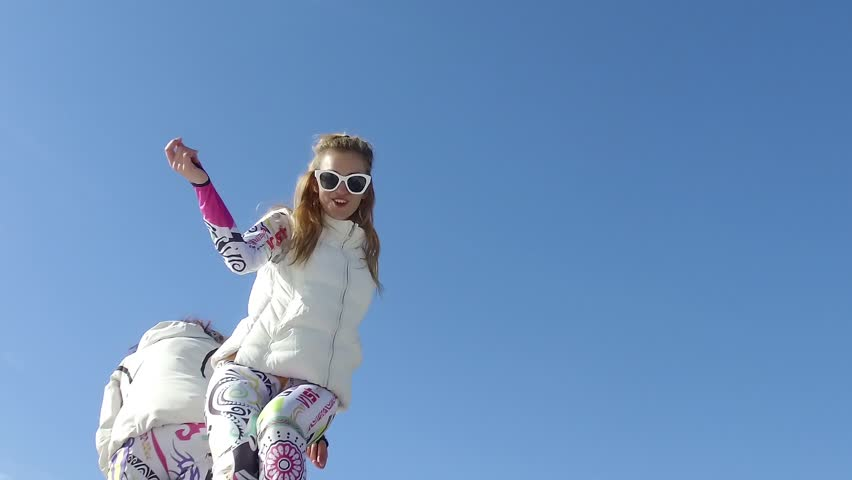 BANSKO, BULGARIA - circa FEB, 2017: Ski girls dance at party at world ski resort in Bansko, Bulgaria