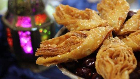 Ramadan Oriental Desserts and Sweets. Ramadan Kareem Festive