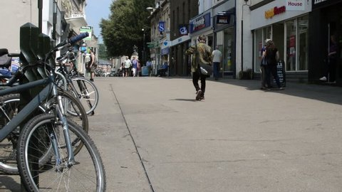 Stroud, England - May 21, 2018: Pedestrians walking on King Street