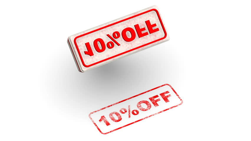 10 percentage off. The stamp leaves a red imprint 10%OFF on white surface. Footage video