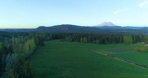 Mt Rainier Aerial View Rural Countryside Landscape