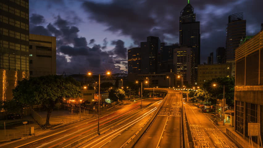 Traffic in Hong Kong, 4K Night to Day Time lapse. | Shutterstock HD Video #1011319724