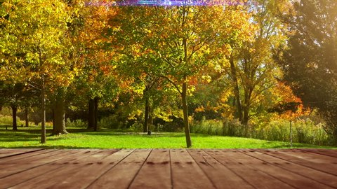 Park Picnic Wooden Table Background, Empty Outdoor Table Top Space, Green Nature