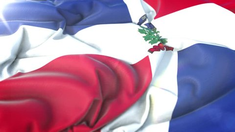 Dominican Republic flag.Flag of Dominican Republic Beautiful 3d animation of Dominican Republic flag in loop mode.Dominican Republic flag animation