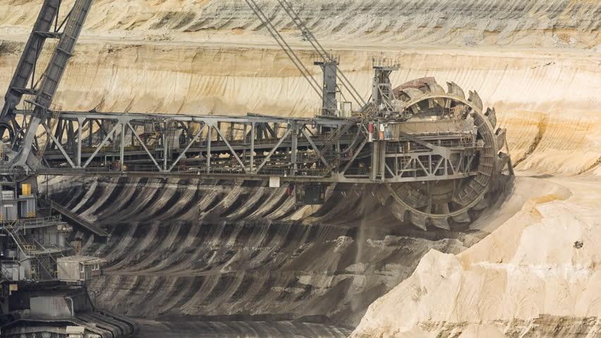 Bucket-wheel excavator in lignite open-cast pit   Shutterstock HD Video #1011366254