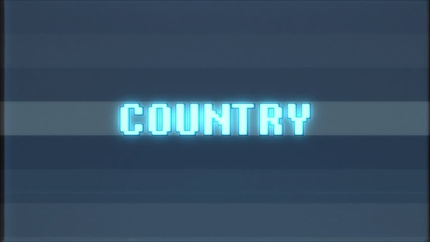Retro videogame COUNTRY word text computer tv glitch interference noise screen animation seamless loop New quality universal vintage motion dynamic animated background colorful joyful video m | Shutterstock HD Video #1011369434