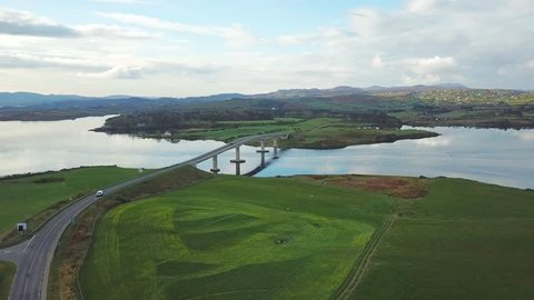 aerial view of Harry Blaney Bridge, Co. Donegal, Ireland