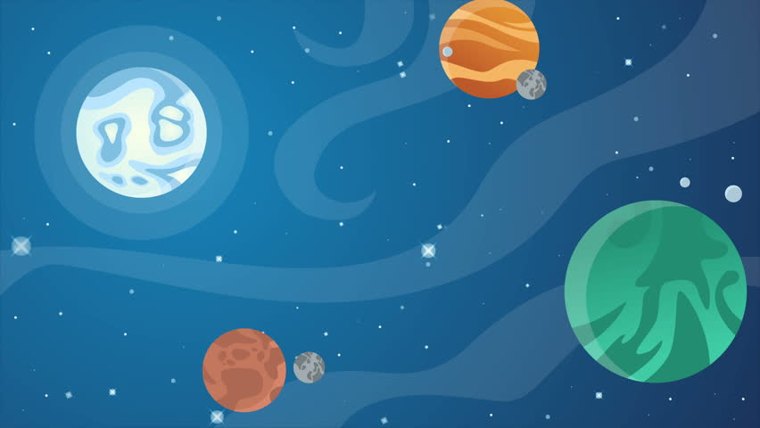 Stars in space with animated cartoon objects on blue background   Shutterstock HD Video #1011394634
