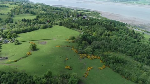 Aerial footage flying over woodland and yellow gorse covered hillside towards a large house and gardens near the village of Langbank on the south shore of the Firth of Clyde.