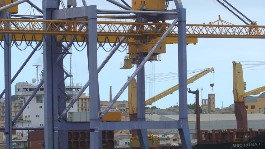 Time lapse container port unloading containers in Palermo | Shutterstock HD Video #1011413564