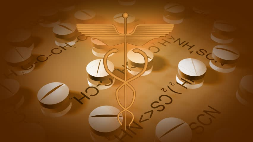 Twirling medical symbol and pills | Shutterstock HD Video #1011431324