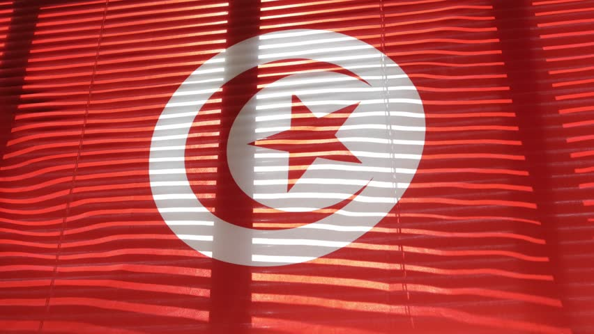 Tunisian flag hanging at wide jalousie window. Closeup  #1011468854