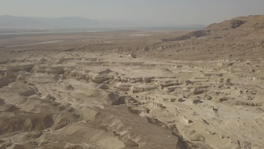 Dead sea desert 4k aerial view ungraded flat | Shutterstock HD Video #1011483164