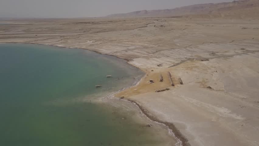 Dead sea desert 4k aerial view ungraded flat | Shutterstock HD Video #1011483194